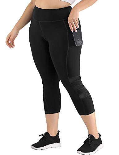Uoohal Women's Plus Size Active Leggings High Waist Yoga Pants with Pocket Tummy Control Running Workout Athletic Legging Black 2XL