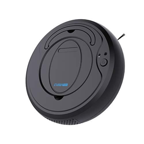 Vosarea Robot aspirapolvere USB intelligente spazzatrice di carica per pavimenti duri tappeti pelo animali (bianco) 26 x 26 x 6.8 cm Nero