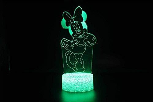 Luz nocturna 3D para niños, 3D ilusión al lado de la lámpara de mesa Mickey 16 colores interruptor táctil con control remoto para regalos