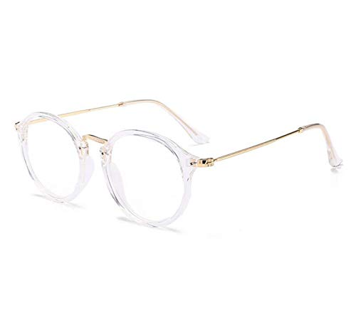Without Marcos de Gafas Transparente Retro Mujeres Gafas Marco Moda Hombres Lentes Marco Redondo Claro Lente Vidrios Spectacle Optical Marco (Frame Color : Transparent)