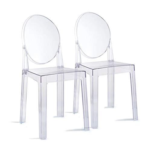 Bidema Silla Transparente Fantasma Cristal con Oval Volver Maquillaje Moderno de sillas de Comedor extraíble apilable Ghost Silla de Comedor al Aire Libre de Interior (Color : 2pcs)
