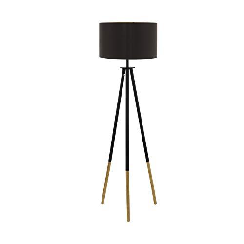 EGLO Stehlampe Bidford, 1 flammige Stehleuchte Vintage, Standleuchte aus Holz, Stahl und Textil, Wohnzimmerlampe in Dunkelbraun, Braun und Gold, Lampe mit Tritt-Schalter, E27 Fassung