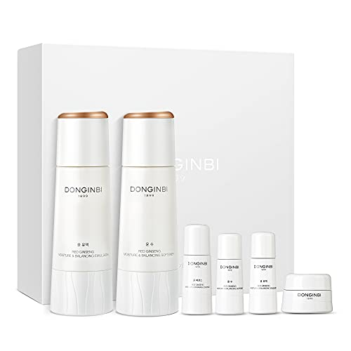 of korean skin care products DONGINBI Red Ginseng Korean Skin Care Set, Korean Anti Aging Skin Care Routine Kit for Smooth, Radiant Skin by KGC.