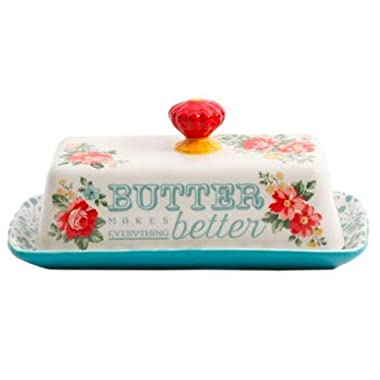 The Pioneer Woman Vintage Floral Butter Dish Stoneware