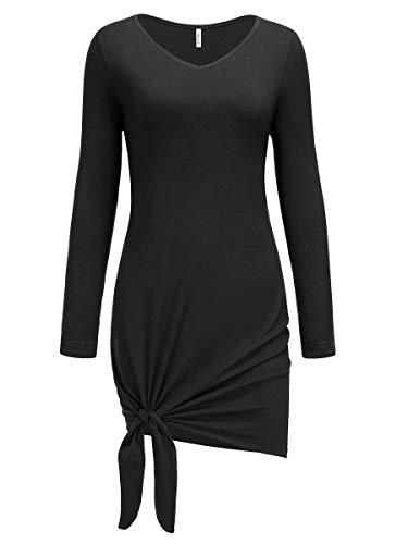 Missufe Women's Casual Long Sleeve V Neck Side Knot Mini Tshirt Dress (Black, Large)