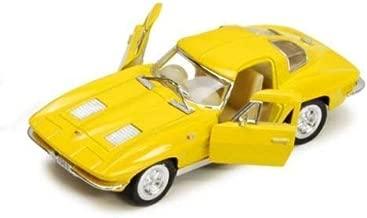 New 1:38 KINSMART DISPLAY - YELLOW 1963 CHEVROLET CORVETTE STINGRAY Diecast Model Car By KINSMART