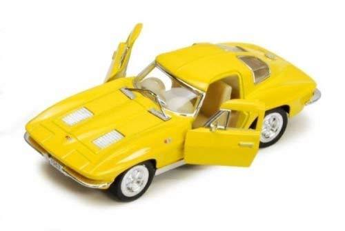 Kinsmart New 1:38 Display - Yellow 1963 Chevrolet Corvette Stingray Diecast Model Car