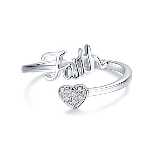 JUSTKIDSTOY Faith Ring for Women Engraved Faith Love Heart Ring Inspirational Jewelry Adjustable Rings for Birthday Christmas