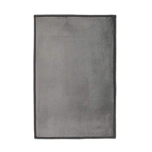 Monbeautapis–Alfombra Antideslizante Gris Muy Suave de Franela y poliéster, poliéster, Gris, 90 x 60 cm