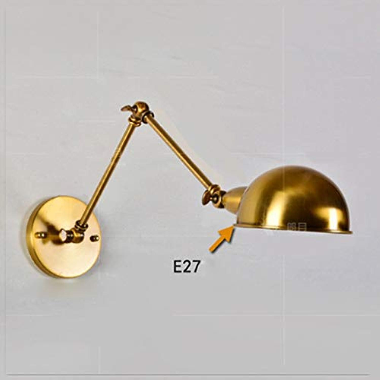 BJYG Gold American Style industRetro Wandleuchte Creative Telescopic Long Arm Double Abschnitt über Schaukel Restaurant Schlafzimmer lesen Nachtwandleuchte