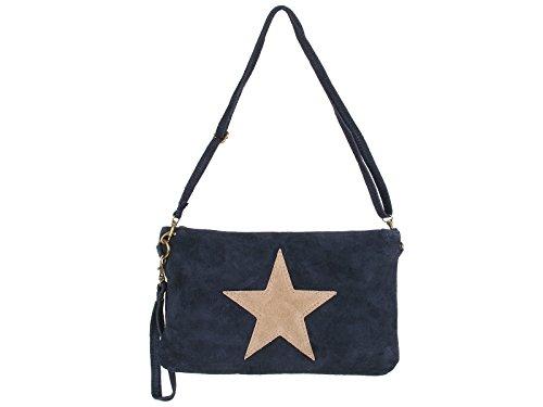 scarlet bag | Clutch Tasche Unterarmtasche Abendtasche Umhängetasche aus echtem Wildleder | Damen Handtasche; 28 x 19 x 1 cm (Dunkelblau)