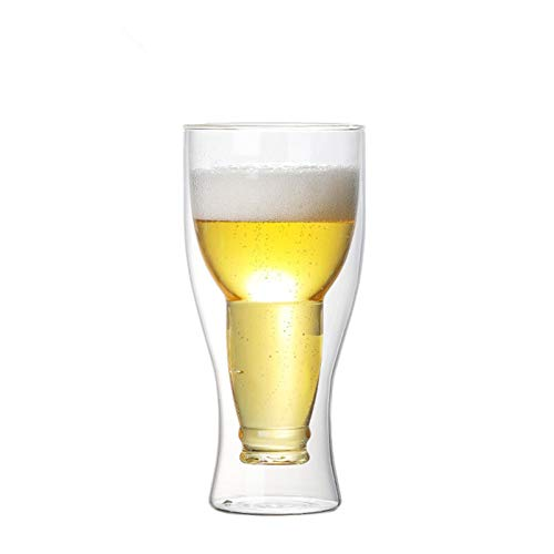 KANCK Cerveza Steins Invertida Bebida Agua Taza Bar Restaurante Arte Transparente Doble carfric Taza Taza té (Capacity : 200ml)