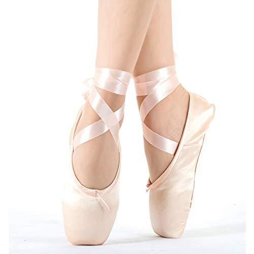 YXCM Zapatillas de Ballet Zapatos de Baile de Punta de Ballet para niños y Adultos Zapatos de Cuero de Mujer Zapatos de Baile de Ballet Profesionales de Gran Ayuda con Zapatos de Cintas,Rosado,36