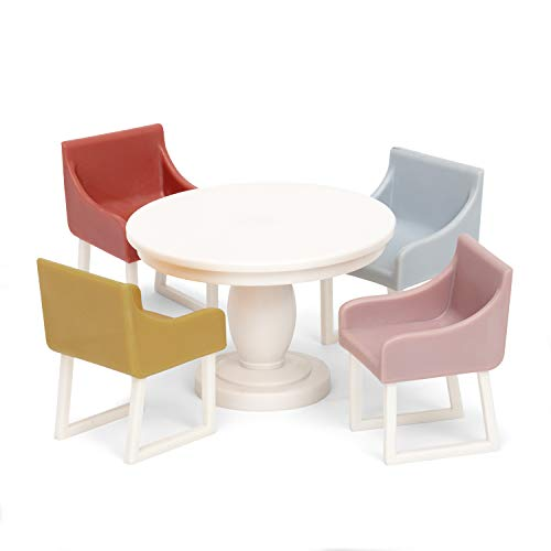 Lundby 60-306700 - Esszimmermöbel Puppenhaus - Möbelset 5-teilig - Puppenhauszubehör - Möbel - Esstisch - Sitzgruppe - Esszimmer - Zubehör - ab 3 Jahre - 11 cm Puppen - Minipuppen 1:18