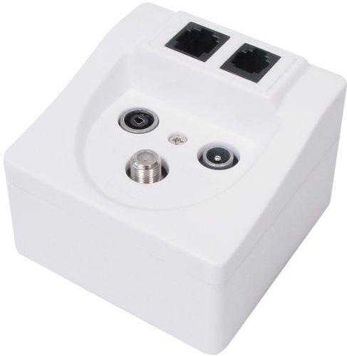 Transmedia FD11SETL - Adaptador de comunicación por línea eléctrica (conecto coaxial, RJ-45, RJ-11), blanco