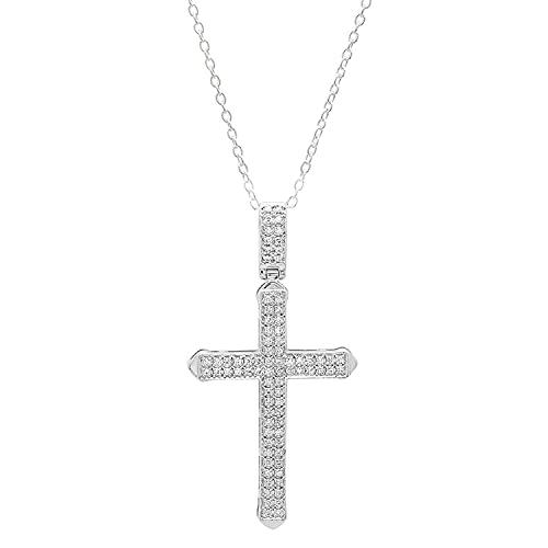 Dazzlingrock Collection 0,30 Carat (ctw) Croix de 10k Blanc Diamant Hommes Pendentif 1/3 CT (chaîne en Argent Inclus), en Or Blanc