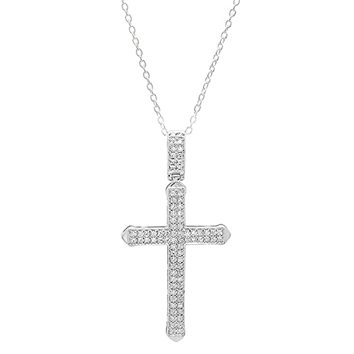 Dazzlingrock Collection 0.30 Carat (ctw) 10K White Diamond Men's Cross Pendant 1/3 CT (Silver Chain Included), White Gold