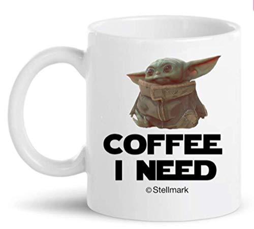 Stellmark - Baby Yoda Coffee I Need - El regalo de la taza de café Mandalorian Star Wars para familia, amigo, novio, esposo, novia, esposa, hijo, hija (blanco 11 oz EXCLUSIVAMENTE PARA PRODUCTOS DE WO