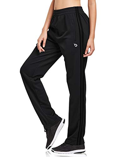 BALEAF Women's Track Pants Sports Athletic Sweatpants with Zipper Pockets Lounge Jogging Sweat Pants Open Leg Black/Black Size M