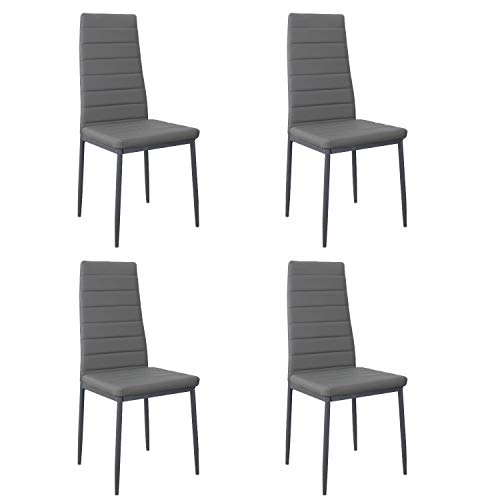 Noorsk Design Pack de Cuatro sillas de Comedor o Cocina Clasik (Gris)