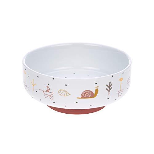 LÄSSIG Schüssel Porzellan Schälchen Kinderschüssel mit Silikonring rutschfest Kindergeschirr/ Garden Explorer girls Rot