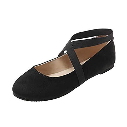 SUCES Damen Tanzschuhe Flache Bequem Ballerinas Schuhe Frauen Freizeit Weich Low-Top Mokassin Mädchen Klassische Loafers Yoga Training Freizeitschuhe Yoga Training (Schwarz,39)