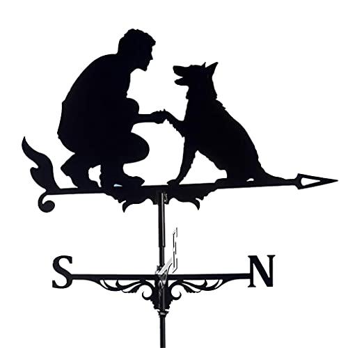 perfk Wetterfahne Eisen Wetterfahne Metall Eisen Windfahne Retro Wetterfahne Garten Terrasse Hof Ornament Dekoration Wetterfahne - Mann mit Hund