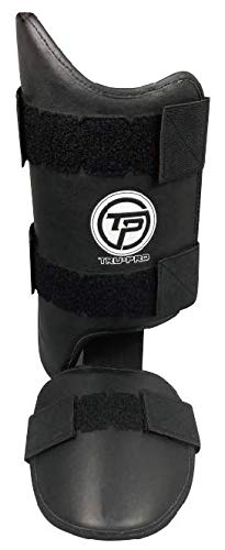 Tru Pro Leg Guard for Baseball and Softball - Genuine Leather - One Size - Protective Wear for Baseball and Softball (Black Right Handed Hitter)