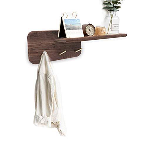 WAJI Zwarte walnoot messing naadloze haak, kleding hanger massief hout partitie rek, veranda creatieve jas haak hout plank