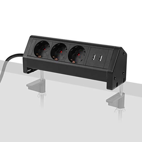 FLEXISPOT Tischsteckdose, mit 3 EU-Steckdosen und 2 USB- und 2 Mount-Klemmen, für Büro-, Arbeits- und Wohnenflächen
