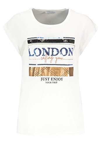 Sublevel Damen Pailletten T-Shirt mit Städte Aufdruck Blue M