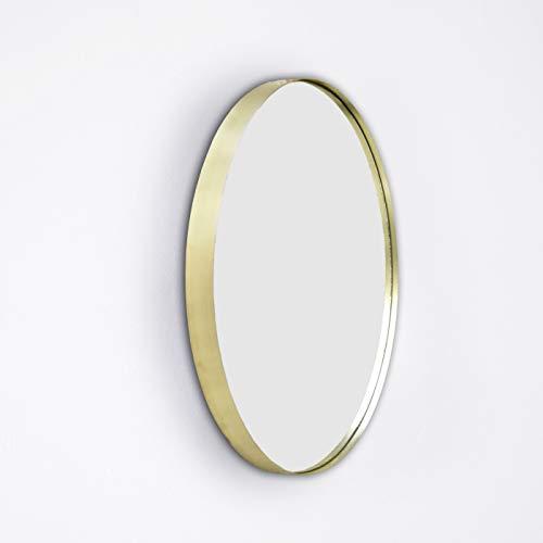 ENO Studio Miroir Design Le Miroir CRUZIANA Rond, Ø 47 cm x Prof. 3,5 cm Couleur Laiton en Verre et Acier laitonné Désigné