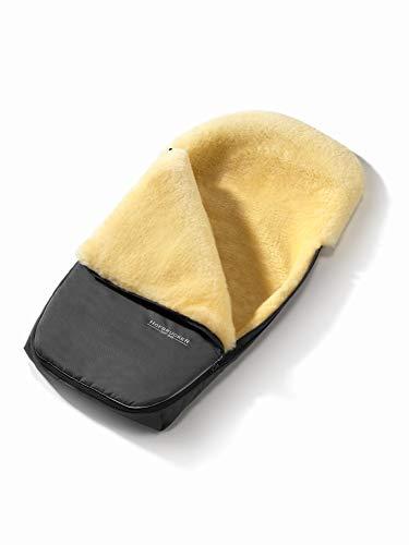 Set Hofbrucker Lammfell-Fußsack Polaris für Kinderwagen & Buggy mit Stoffwindel von Kinderhaus Blaubär/Winterfusssack geeignet für BUGABOO oder JOOLZ/medizinisches Lammfell, Design:grau
