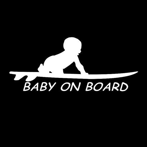 EROSPA® Auto-Aufkleber KFZ - Baby On Board - Kind mit Surfbrett - Car-Sticker (Silber)