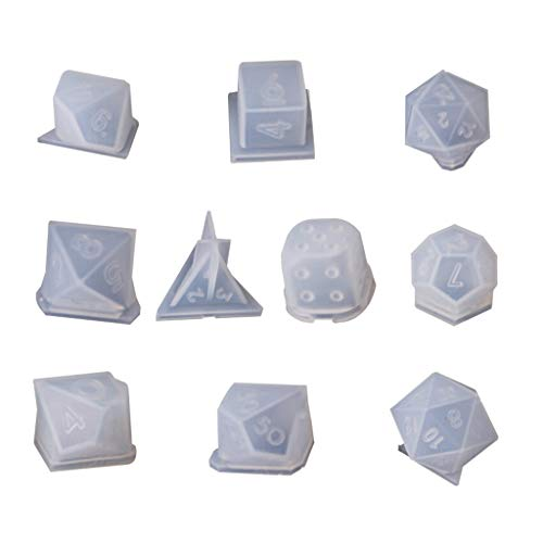 Zhichy 10 unids/set de moldes de dados transparentes, molde de silicona de resina de cristal UV, DIY manualidades joyería moldes para resina