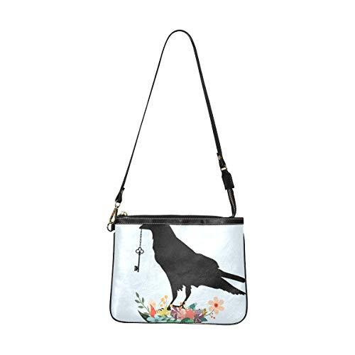 Borse a tracolla Donna Bird Raven Black Crow Beak Key Holding Flowers Fashion Bag For Girls 10 X 8 Inch Light Pu Leather Cross Body Bag Zaino con tracolla lunga per le donne