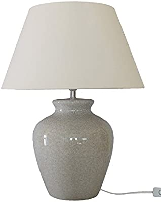 Vintage Style Crackled Ceramic Ivory Ginger Jar Table Lamp - Perfect for All Living Rooms & Bedrooms – Superb Quality