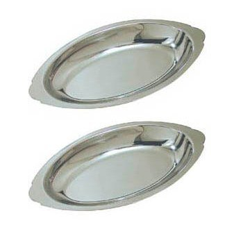 15 oz. (Ounce) Stainless Steel Oval Au Gratin Serving Dish Pan Platter - Set of 2