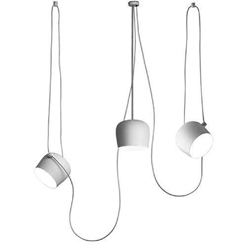 Ruixf E27 Loft Chandelier Luce da Pranzo Industriale Moderna Lampada a Sospensione Plafoniera Regolabile in Lunghezza (No Lampadine) (3 Teste,Blanco)