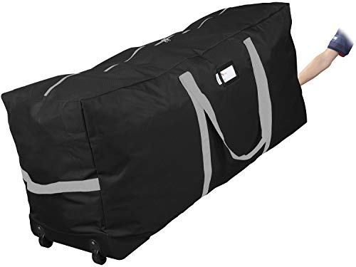 """Primode Christmas Rolling Tree Storage Bag, Fits Up to 7.5 Ft. Tall Disassembled Holiday Trees, 22"""" H X 16"""" W X 50"""" L, Large Heavy Duty Storage Container with 2 Wheels and Handles (Black)"""
