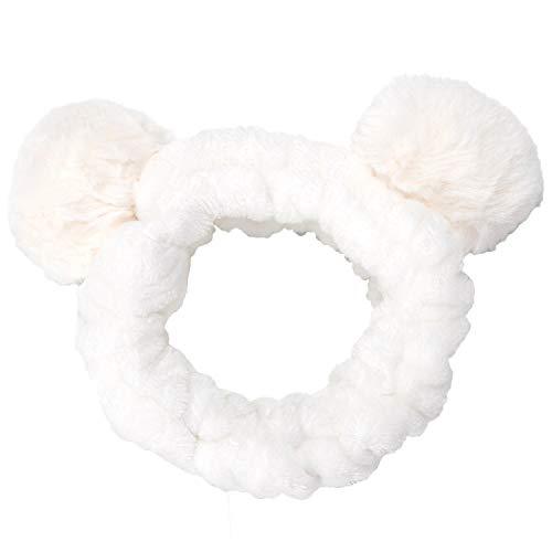 Sea Team Frauen Mode Plüsch Stirnband Haarschlaufe Elastic Coral Fleece Haarband mit niedlichen Pompons für Make-up-Dusche und Cosplay