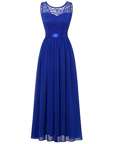 BeryLove Damen Abendkleid Elegant Cocktailkleid Lang Brautjunferkleid Chiffon Spitzen Kleid Hochzeit Party Royalblau BLP7025 Royalblue S
