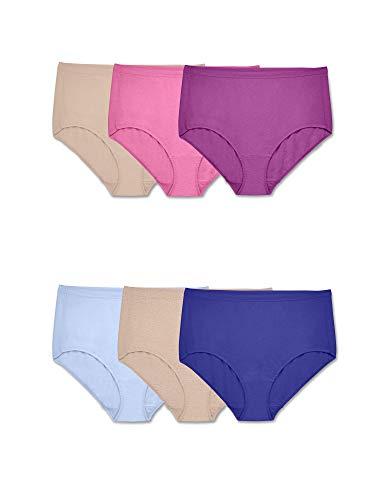 Fruit of the Loom Women's Underwear Beyondsoft Panties (Regular & Plus, Plus Size Brief-Cotton Blend-6 Pack, 12