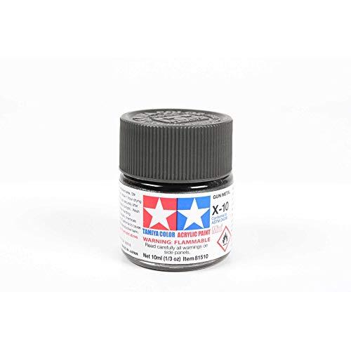 Tamiya 81510 - Pintura Acrílica Mini, Brillo Gris Acero Frasco de 10 ml, X-10