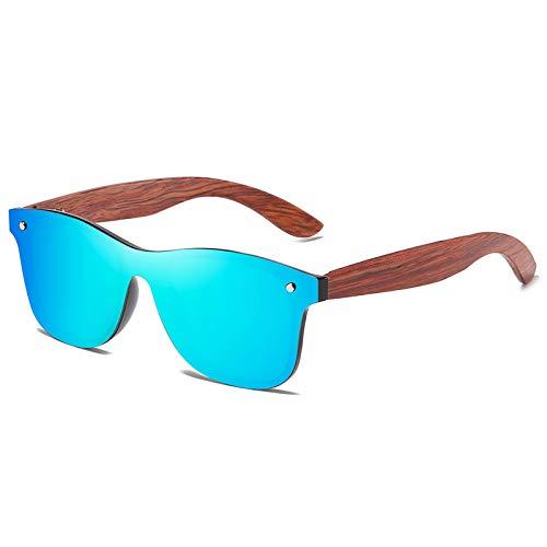 HDSJJD Gafas De Sol, Gafas De Sol Polarizadas De Moda De Bambú Y Madera De Una Sola Pieza, con Función Anti-Ultravioleta UV400, Unisex,B