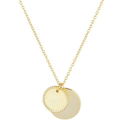 Brandlinger ® Atelier Kette mit Anhänger aus vergoldetem 925 Sterling Silber. Halskette Gold mit Kettenlänge 40 cm + 5 cm