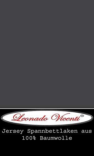 Leonado Vicent - Classic Spannbettlaken Bettlaken 100% Baumwolle Jersey Spannbetttuch in vielen Farben & Größen MARKENQUALITÄT ÖKO TEX Standard 100 (180 x 200 cm - 200 x 200 cm, Anthrazit)