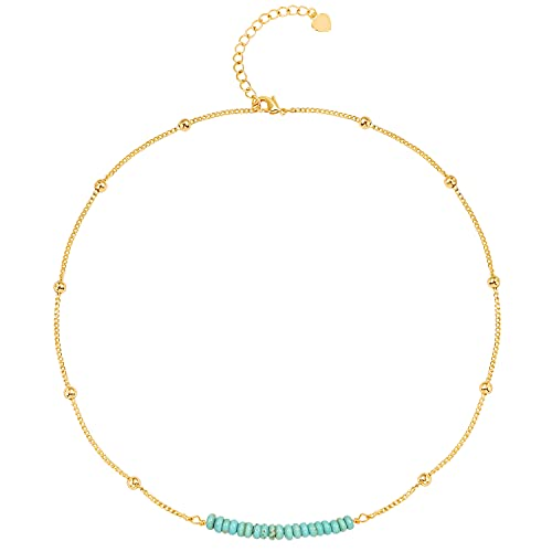 SOFYBJA 18k Gold Satellite Beaded Curb Ball Chain Necklace Dainty Turquoise Choker Necklace for Women Simple Jewelry