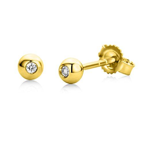 Miore Ohrringe Damen Ohrstecker Weißgold 18 Karat / 750 Gold Solitär Diamant Brillianten 0.03 ct