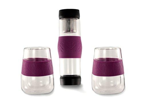 Juego de infusiones: Tetera individual + dos vasos mug en cristal y con banda antideslizante de silicona